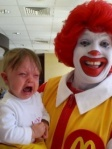 ronald mcdonald makes baby cry